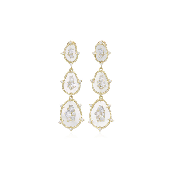 JUDITH RIPKA 18K LTD Oasis Mother of Pearl & White Sapphire Triple Stone Drop Earrings with Diamond Accents