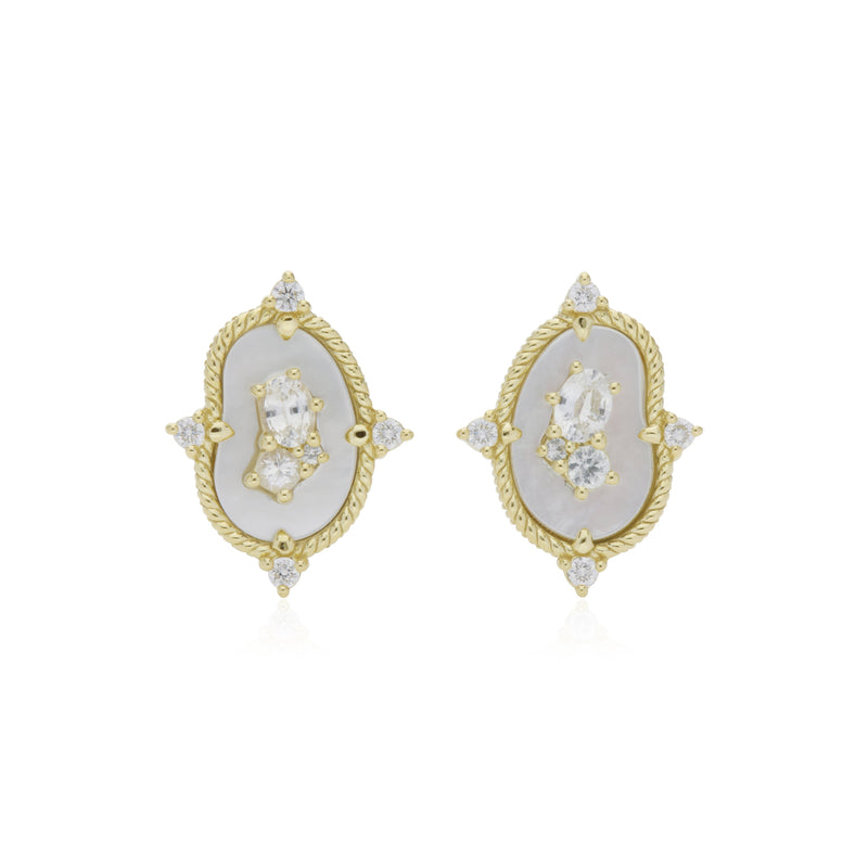 18K Oasis Mother of Pearl & White Sapphire Stud Earrings with Diamond Accents
