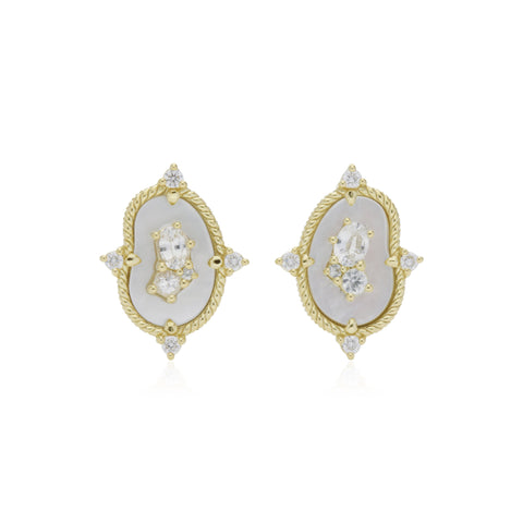 JUDITH RIPKA 18K LTD Oasis Mother of Pearl & White Sapphire Stud Earrings with Diamond Accents