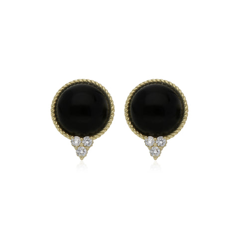 Luna Checkerboard Black Onyx Stud Earrings with Diamond Accents