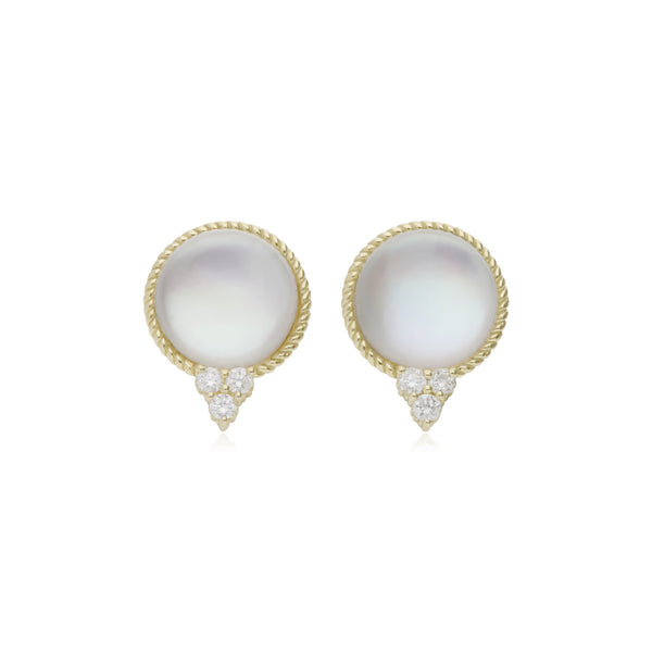Luna Cabochon Mother of Pearl Doublet Stud Earrings with Diamond Accents