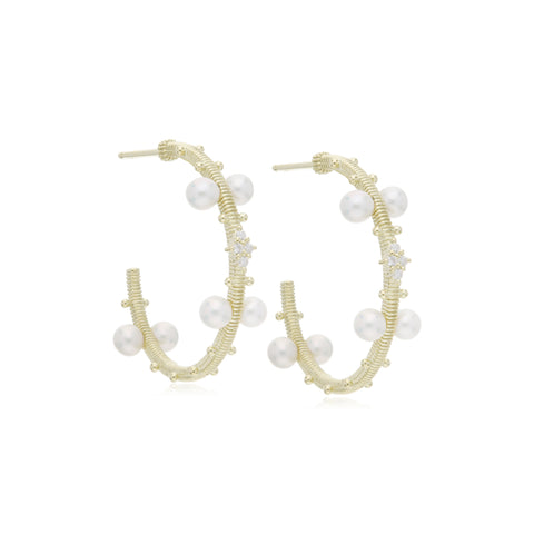 Bella Pearl Hoop Earrings with Diamond Accents