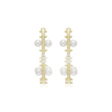 RIPKA Bella Pearl Hoop Earrings with Diamond Accents