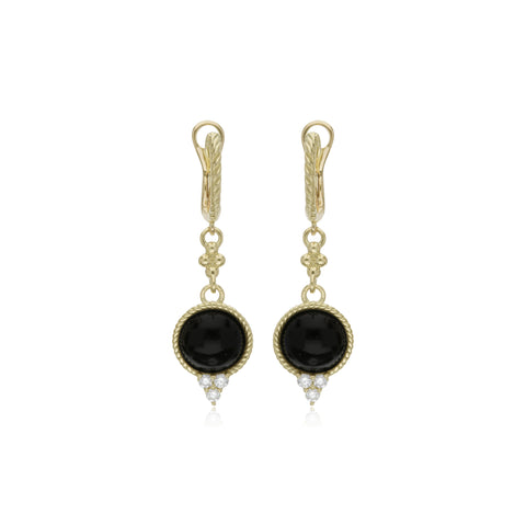 Luna Checkerboard Black Onyx Drop Earrings with Diamond Accents