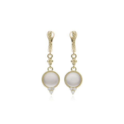 Luna Cabochon Mother of Pearl Doublet Drop Earrings with Diamond Accents
