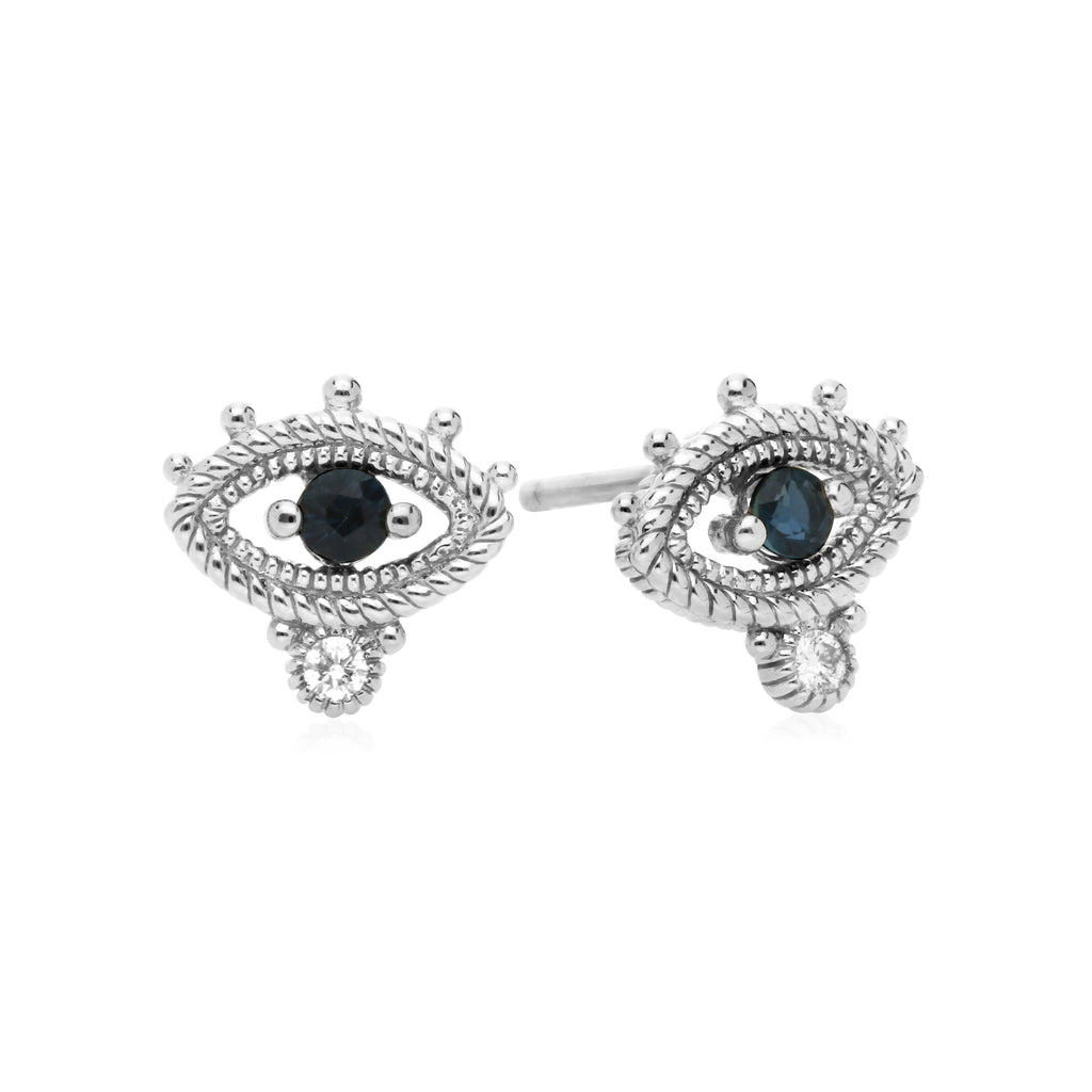 Little Luxuries Blue Sapphire Evil Eye Stud Earrings with Man Made Diamonds