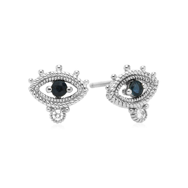Little Luxuries Blue Sapphire Evil Eye Stud Earrings with Cultured Diamonds