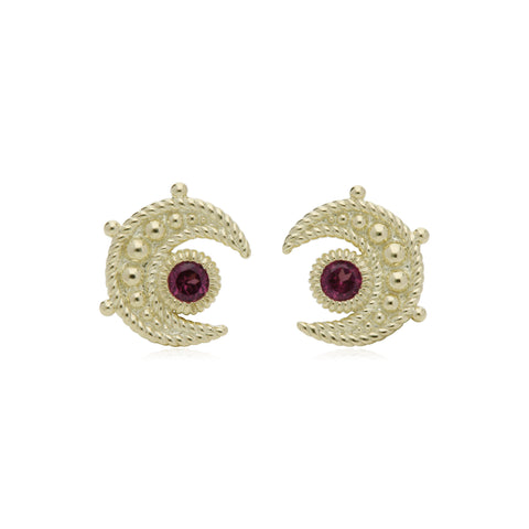 RIPKA Lucky Rhodolite Moon Stud Earrings