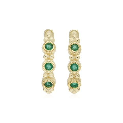 RIPKA La Petite Mini Hoop Earrings with Round Emeralds
