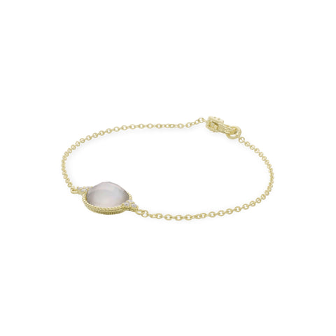 Luna Round Checkerboard Mother of Pearl Doublet Bracelet with Diamond Accents