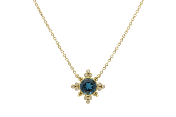 RIPKA Angelica Round London Blue Topaz & Bezel Set Diamond Pendant