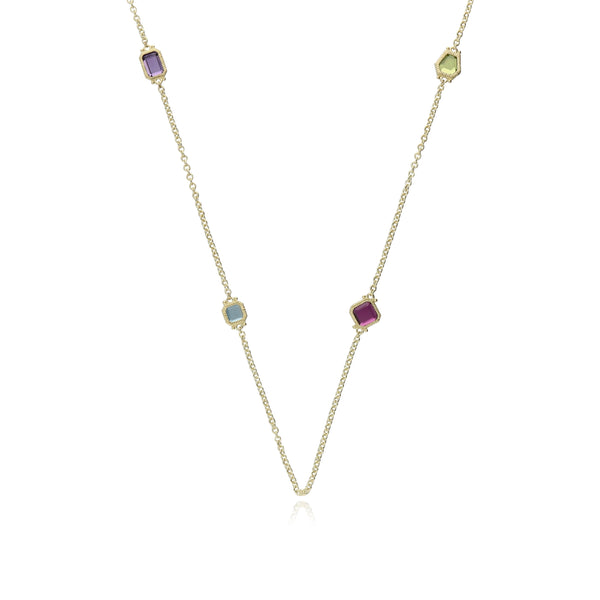 Estate Multi Shape Amethyst, London Blue Topaz, Peridot & Rhodolite Station Chain Necklace