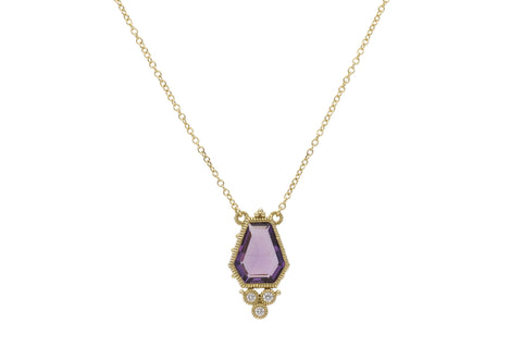 RIPKA Boca Kite Shape Amethyst Pendant with Bezel Set Diamond Accents