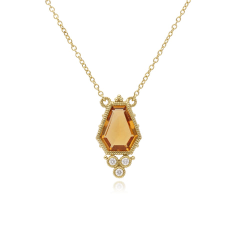 RIPKA Boca Kite Shape Citrine Pendant with Bezel Set Diamond Accents