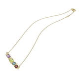 RIPKA Boca Multi Shape Amethyst, London Blue Topaz, Peridot, Rhodolite, & Diamond Bar Necklace