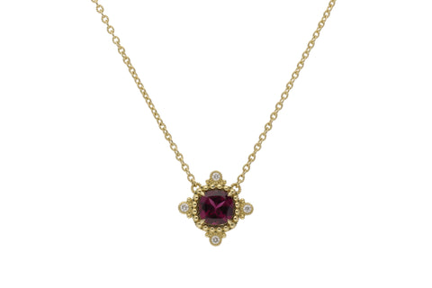 RIPKA Angelica Cushion Shape Rhodolite & Bezel Set Diamond Pendant