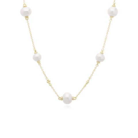 Bella Pearl Station Long Chain Necklace