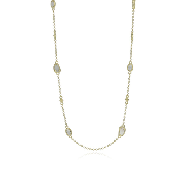 18K Oasis Mother of Pearl & White Topaz Long Station Chain Necklace