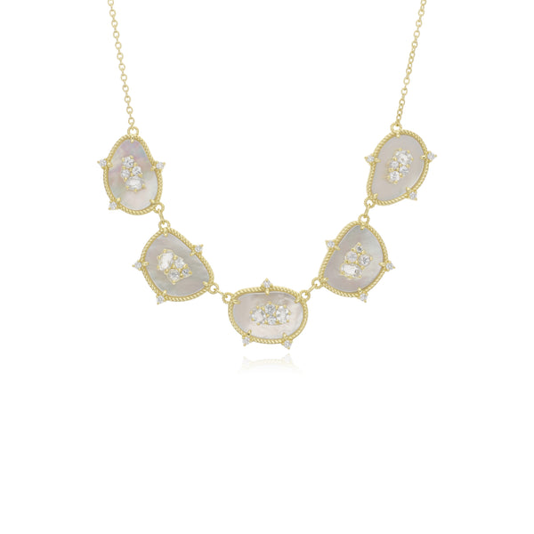 18K Oasis Mother of Pearl & White Sapphire Five Stone Necklace with Diamond Accents