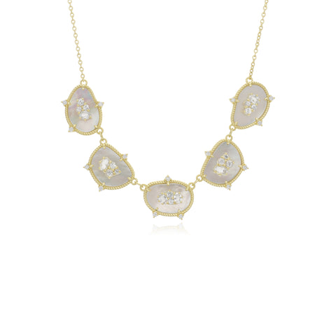 JUDITH RIPKA 18K LTD Oasis Mother of Pearl & White Sapphire Five Stone Necklace with Diamond Accents