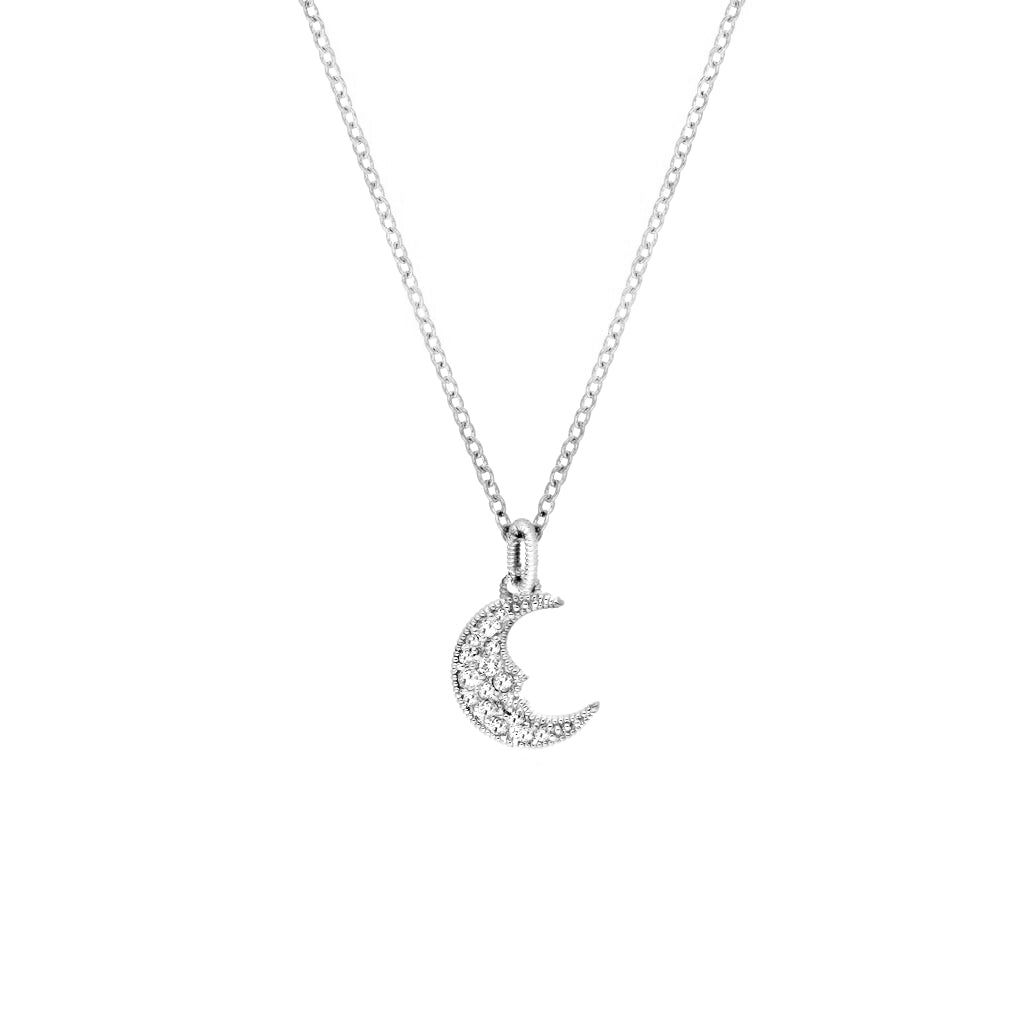 Little Luxuries Moon Pendant with Man Made Diamonds