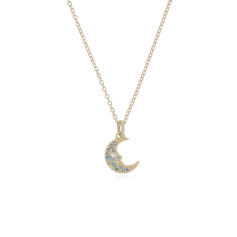 RIPKA Lucky Swiss Blue Topaz Moon Pendant with Diamond Accents