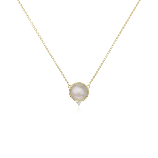 RIPKA Luna Checkerboard Mother of Pearl Doublet Necklace with Diamond Accents