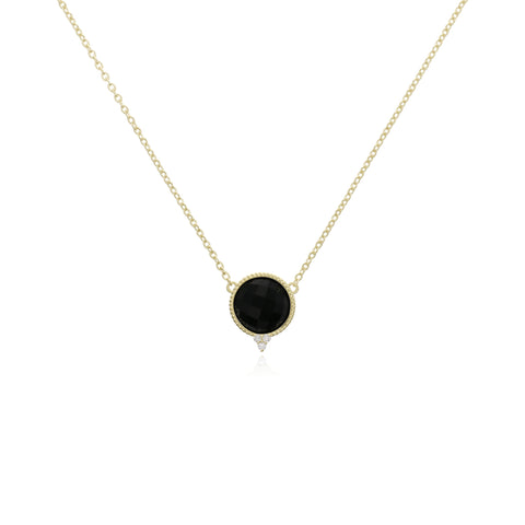 Luna Checkerboard Black Onyx Necklace with Diamond Accents