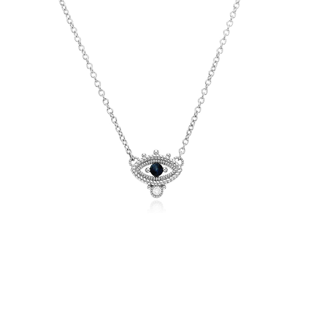 Little Luxuries Blue Sapphire Evil Eye Necklace with Man Made Diamonds