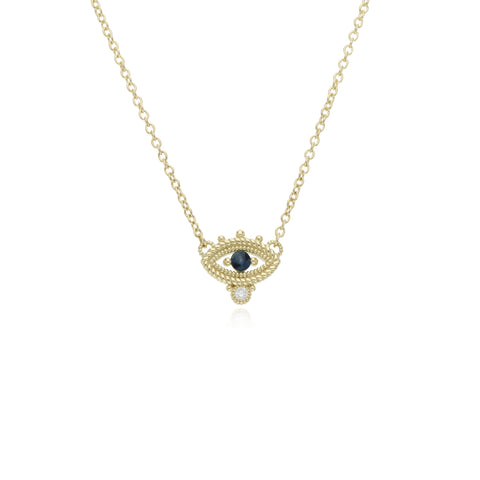 RIPKA Lucky Blue Sapphire Evil Eye Necklace with Diamond Accents