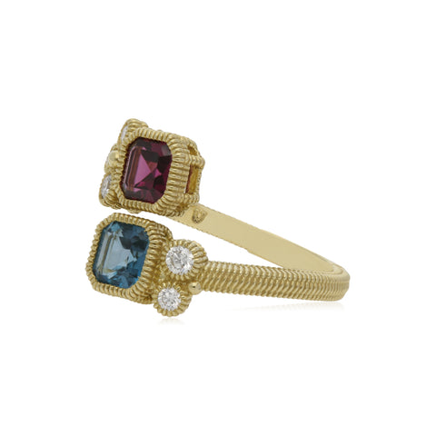 RIPKA Boca Double Cushion Shape Rhodolite & London Blue Topaz Wrap Ring with Diamond Accents