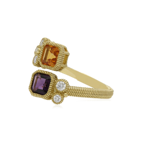 RIPKA Boca Double Cushion Shape Citrine & Amethyst Wrap Ring with Diamond Accents