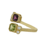RIPKA Boca Double Cushion Shape Rhodolite & Peridot Wrap Ring with Diamond Accents