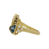 RIPKA Boca Cushion Shape Rhodolite & Kite Shape London Blue Topaz Wrap Ring with Diamond Accents