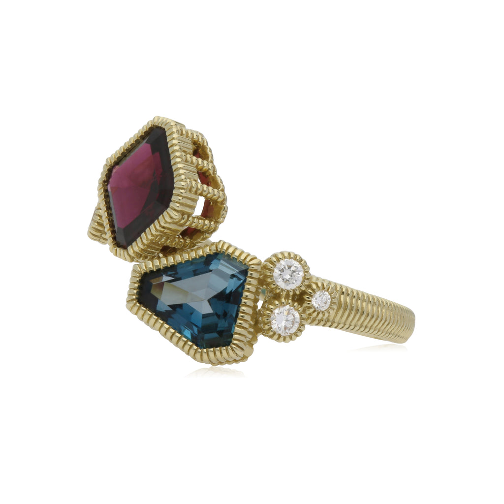Boca Cushion Shape Rhodolite & Kite Shape London Blue Topaz Wrap Ring with Diamond Accents