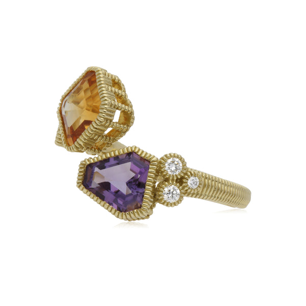 RIPKA Boca Cushion Shape Citrine & Kite Shape Amethyst Wrap Ring with Diamond Accents