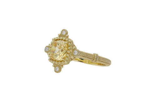 RIPKA Angelica Cushion Shape Canary Crystal & Bezel Set Diamond Ring