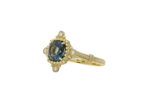 RIPKA Angelica Cushion Shape London Blue Topaz & Bezel Set Diamond Ring