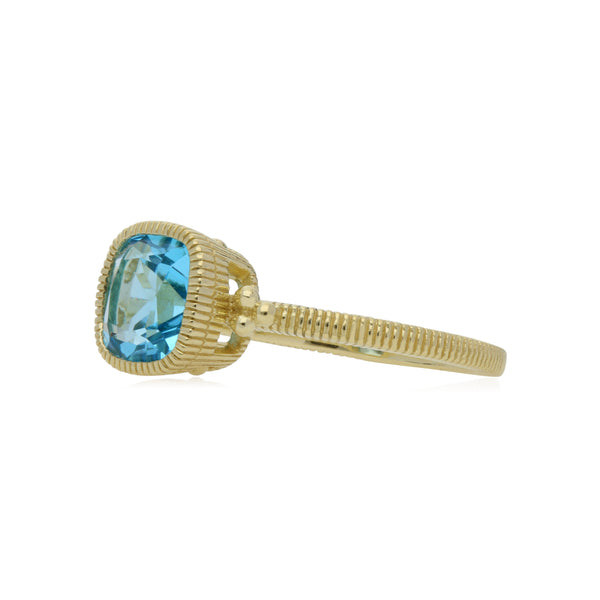 RIPKA Boca Cushion Shape Swiss Blue Topaz Stack Ring