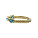 RIPKA La Petite Band Ring with Three Oval Swiss Blue Topaz Stones
