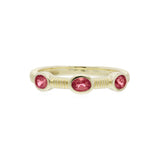 RIPKA La Petite Band Ring with Three Oval Pink Tourmaline Stones