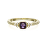RIPKA La Petite Amethyst Sugarloaf Stone Band Ring with Diamond Accents