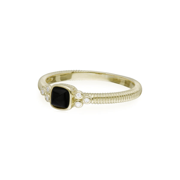 RIPKA La Petite Black Onyx Sugarloaf Stone Band Ring with Diamond Accents