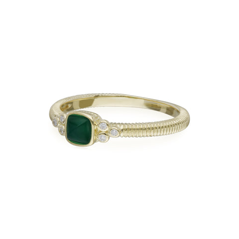 RIPKA La Petite Green Chalcedony Sugarloaf Stone Band Ring with Diamond Accents