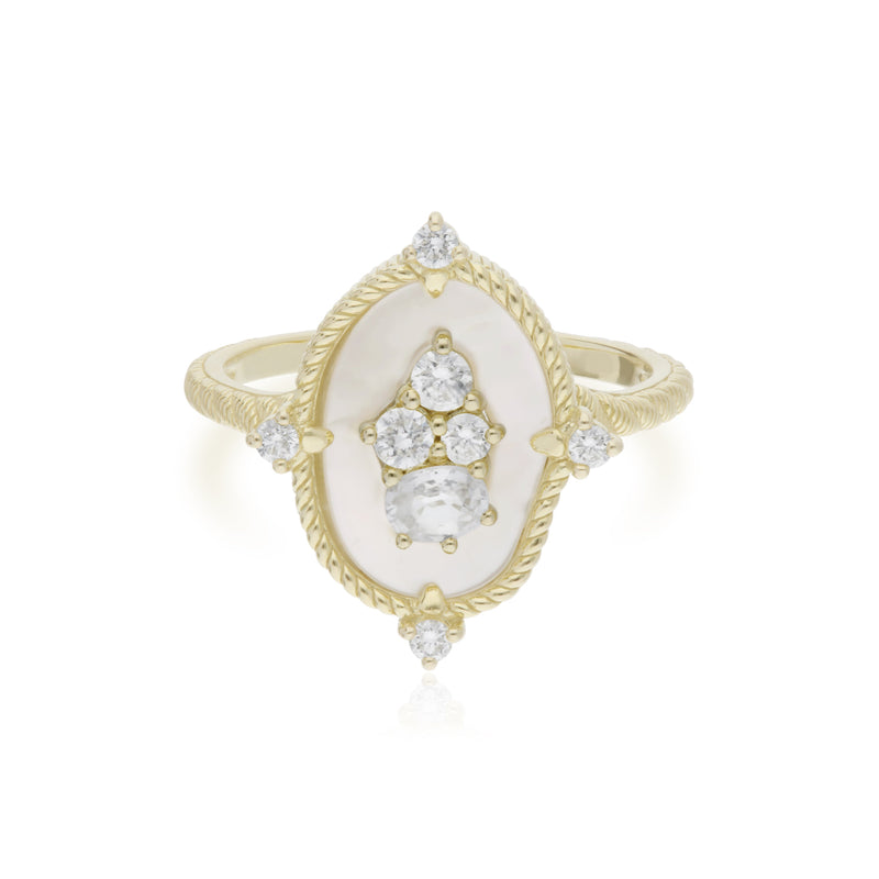 18K Oasis Mother of Pearl & White Sapphire Small Stone Ring with Diamond Accents