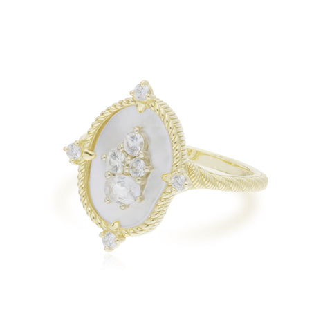 JUDITH RIPKA 18K LTD Oasis Mother of Pearl & White Sapphire Stone Ring with Diamond Accents