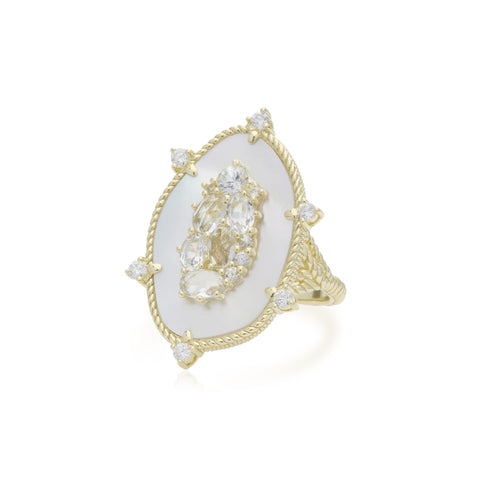 JUDITH RIPKA 18K LTD Oasis Mother of Pearl & White Sapphire Large Stone Ring with Diamond Accents