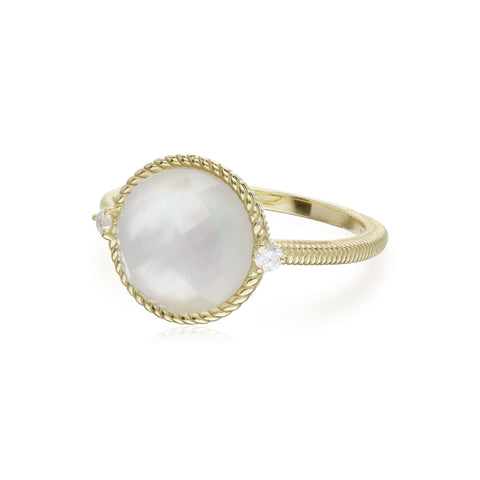 RIPKA Luna Checkerboard Mother of Pearl Doublet Ring with Diamond Accents
