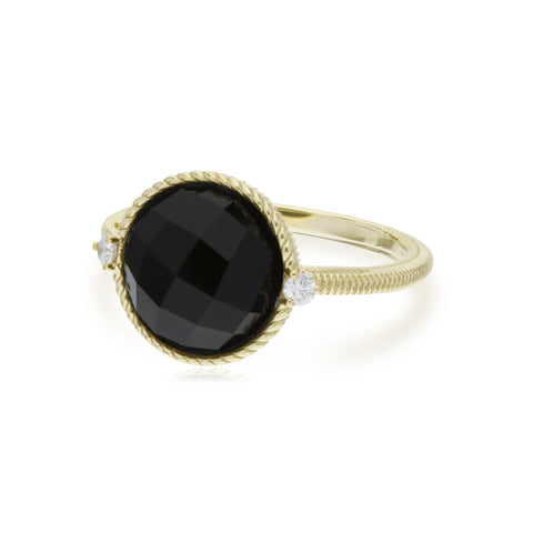 Luna Checkerboard Black Onyx Stone Ring with Diamond Accents