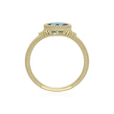 RIPKA La Petite Horizontal Oval London Blue Topaz Ring